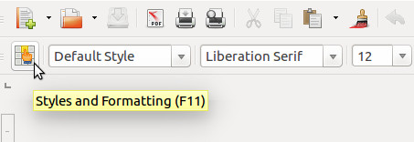 LibreOffice Styles and Formatting Button