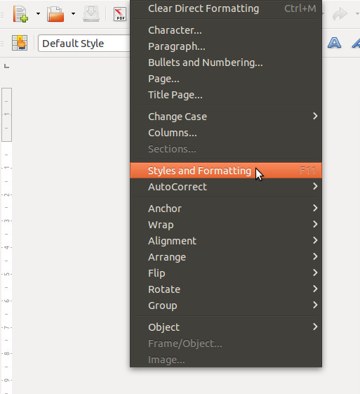 LibreOffice's Styles and Formatting Menu
