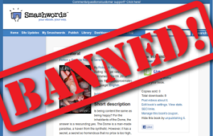 Smashwords website with BANNED! stamped on it