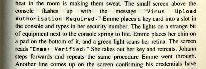 Excerpt from Equilateral by Robert A Wood showing a character style being used