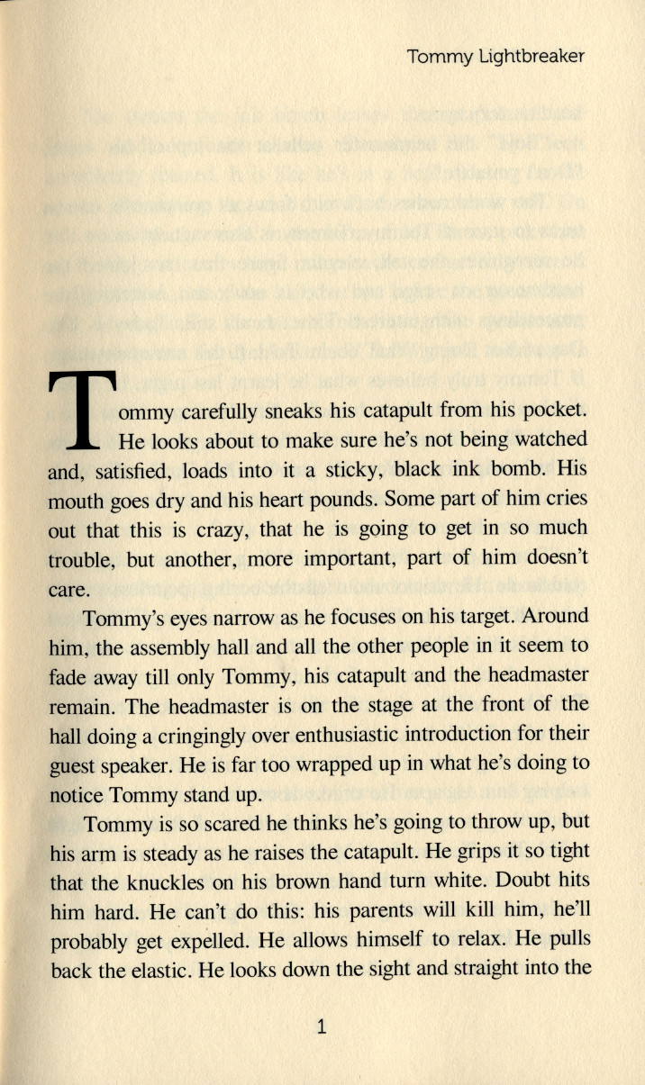The first page of Tommy Lightbreaker by Robert A Wood, showing drop caps.