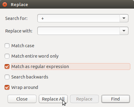 Gedit's search and replace dialog.