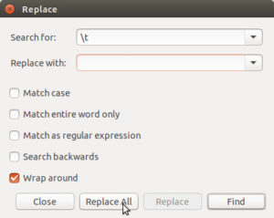 Gedit's search and replace dialog