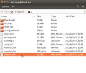 Unzip showing the contents of an .odt file