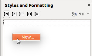 Creating a new paragraph style in LibreOffice's Styles and Formatting dialog
